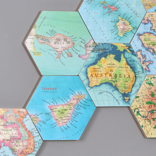 Australia Map Location.Set Of 10 Personalised Map Location Hexagons