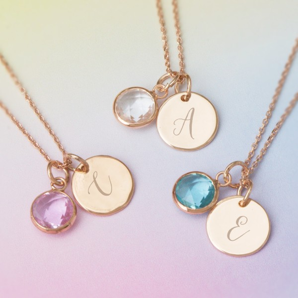 c289142f3 Personalised Initial Birthstone Necklace | hardtofind.