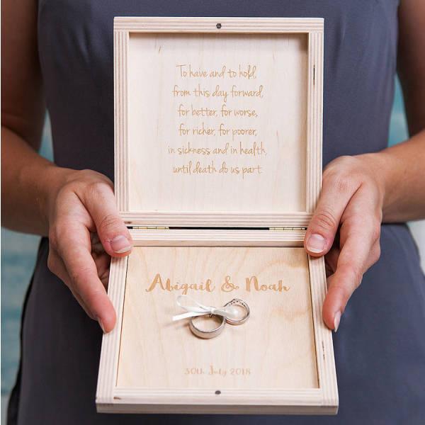 Personalised Modern Calligraphy Wedding Ring Box | hardtofind.