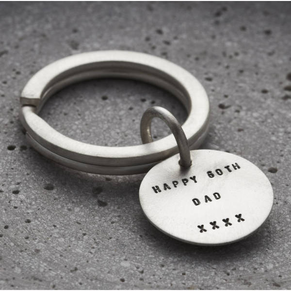 68d619a1e82 Personalised Brushed Silver Disc Keyring | hardtofind.