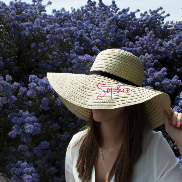 4d697c95 Embroidered Personalised Wide Rim Summer Hat | hardtofind.
