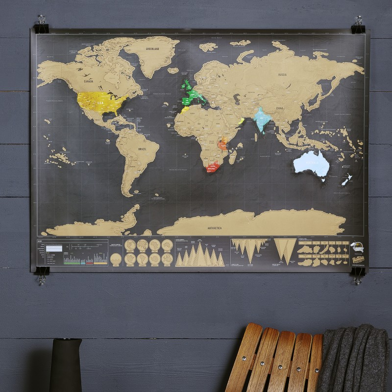 Deluxe Scratch World Map Hardtofind - Framed scratch world map