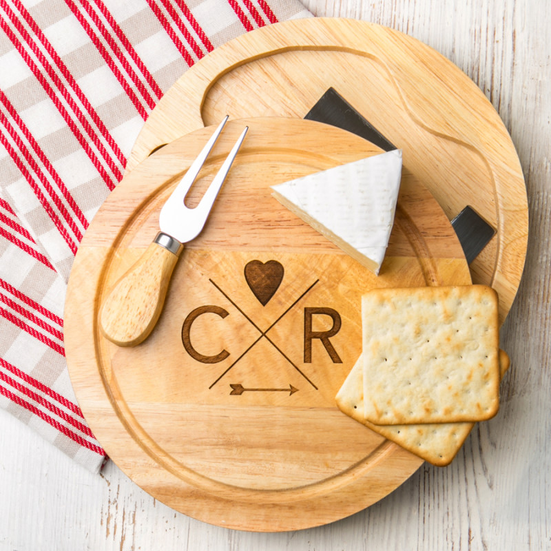 Personalised Follow Your Heart Couples Cheese Board