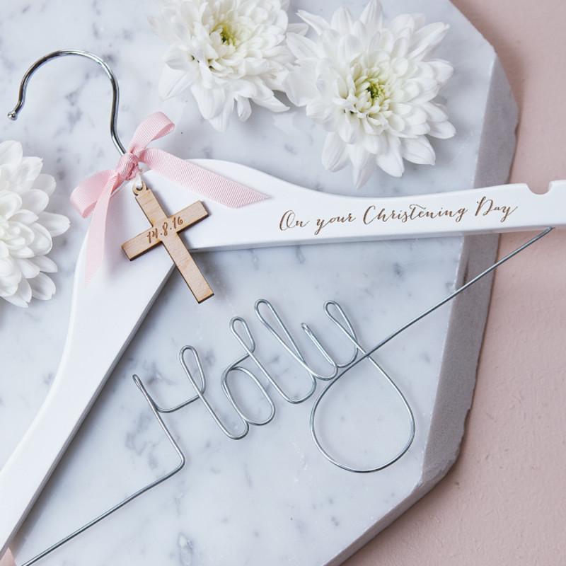 Personalised Engraved Cross Christening Hanger | hardtofind.