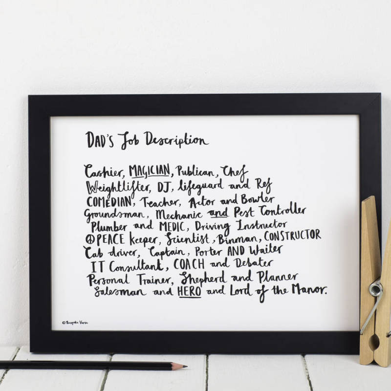 Dad Job Description Personalised Poem Print | Hardtofind.