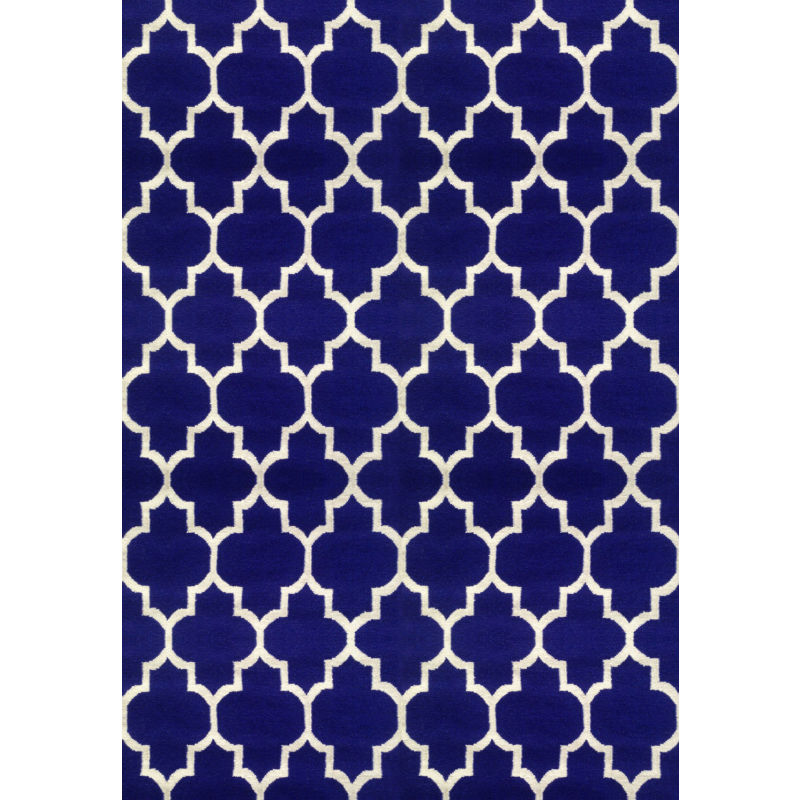 Navy blue trellis wool rug