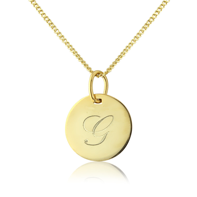 Gigi 9ct gold personalised initial disc pendant hardtofind gigi pendant on 9ct gold adjustable chain mozeypictures Choice Image