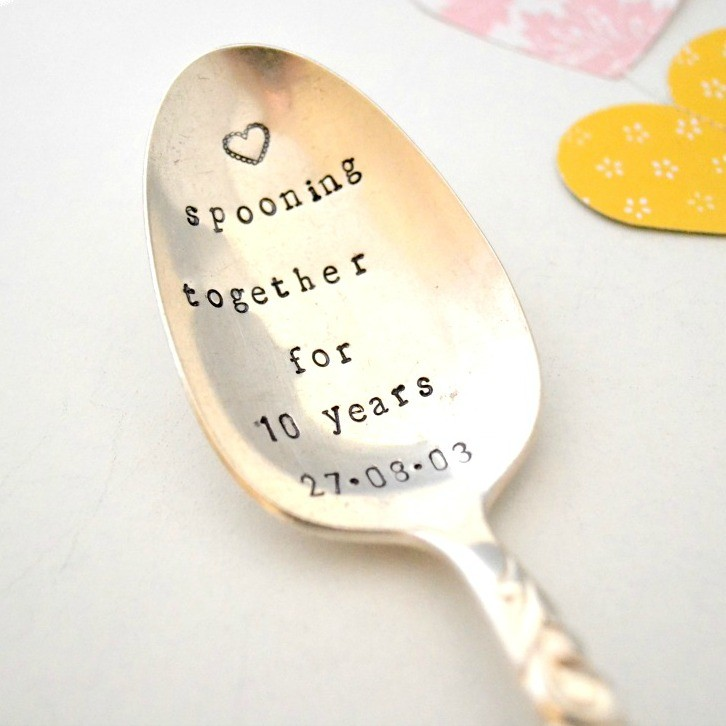 Gifts For 10th Wedding Anniversary For Him: Hand-stamped Vintage Anniversary Spooning Together Spoon