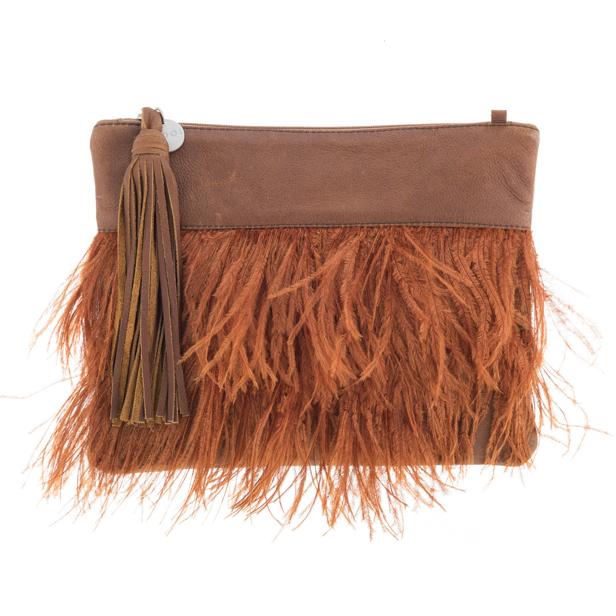 tilly rust leather clutch hardtofind