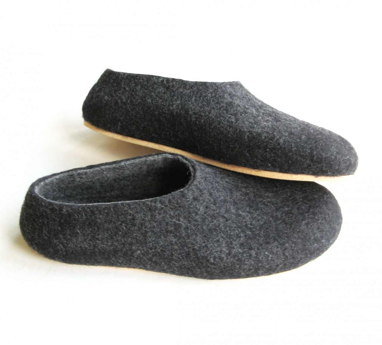 Mens Bedroom Shoes Mens Felt Slippers Grey Marle With Cork Sole Hardtofind