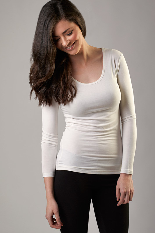 95ff895180a8eb NEW Bamboo long sleeve scoop top Women s by O2wear