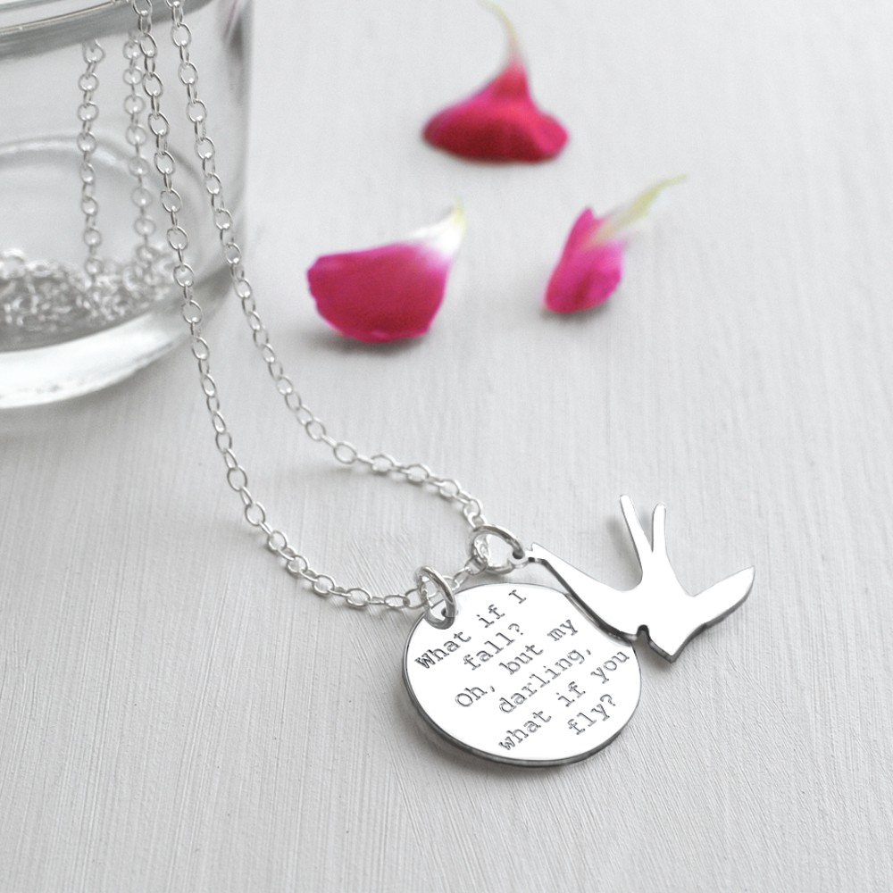 Quirky Wedding Gift Ideas Australia : Personalised Sterling Silver Disc and Swallow What if I Fall? Quote...