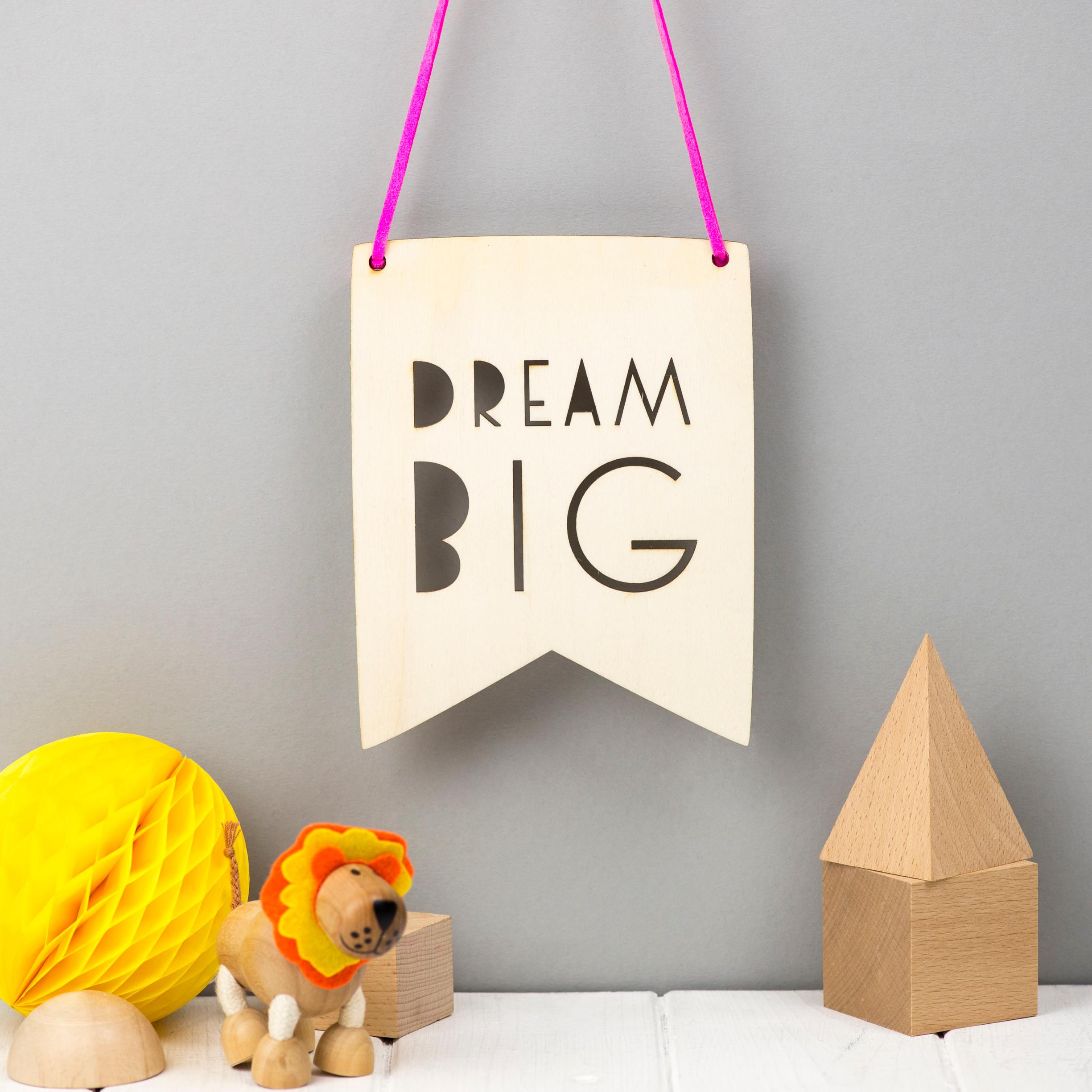 Quirky Wedding Gift Ideas Australia : Dream Big Typographic Style Wooden Pennant hardtofind.
