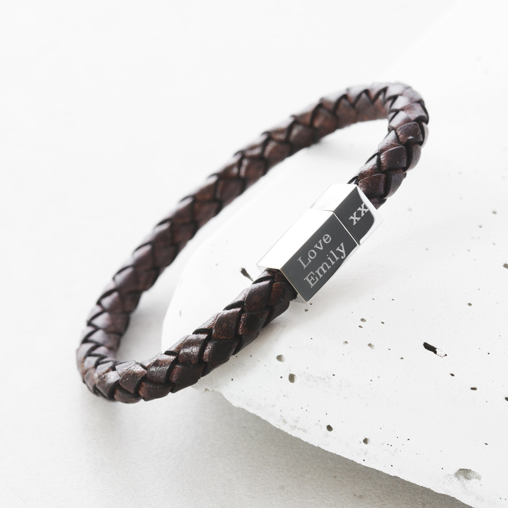 Mens Square Leather Engraved Bracelet Hardtofind
