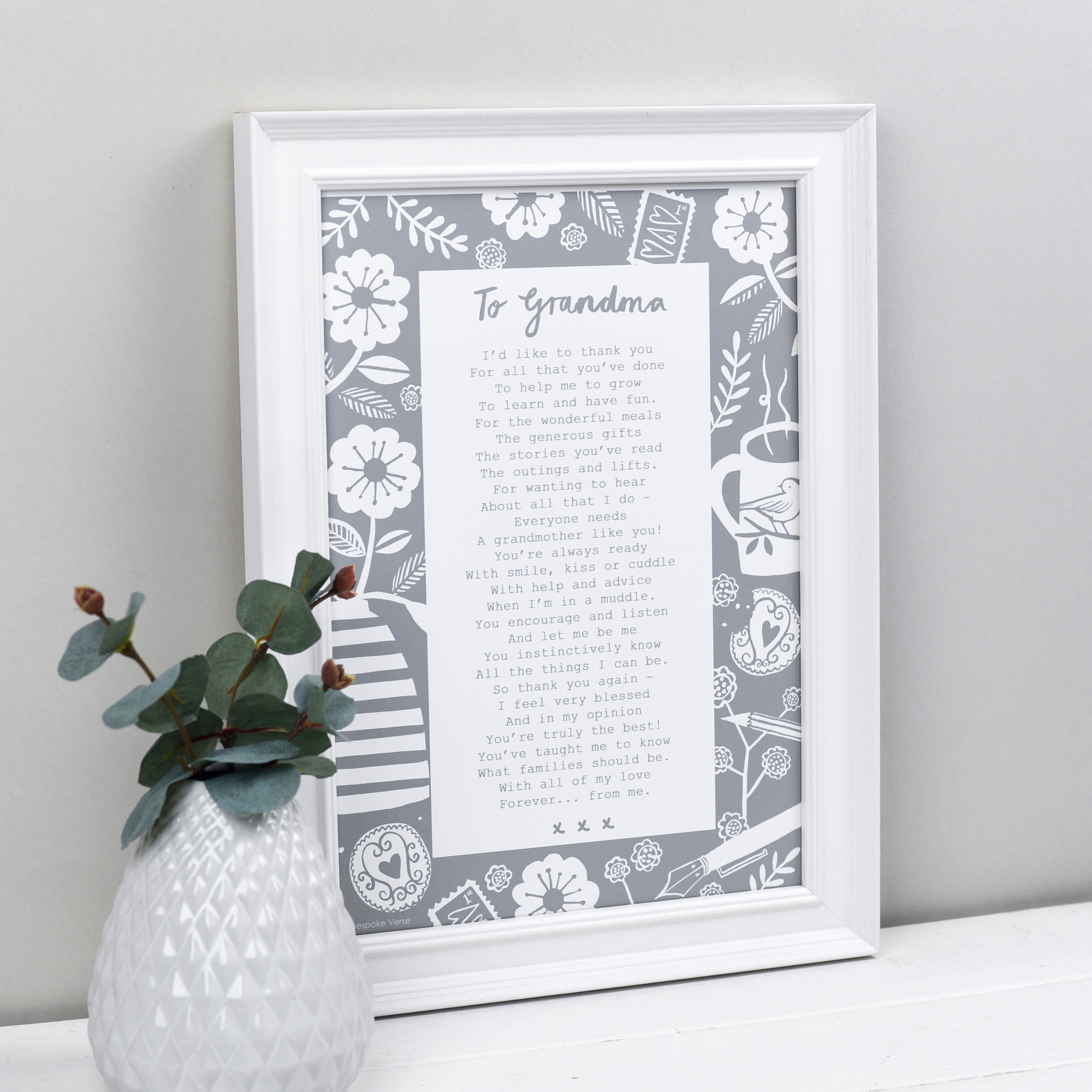 Letter To Grandmother Personalised Poem Print Hardtofind