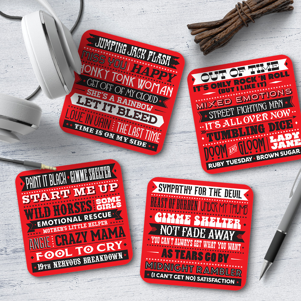 Details about NEW Rolling Stones Song Titles Coasters (Set of 4) Women's by  Needs & Wishes