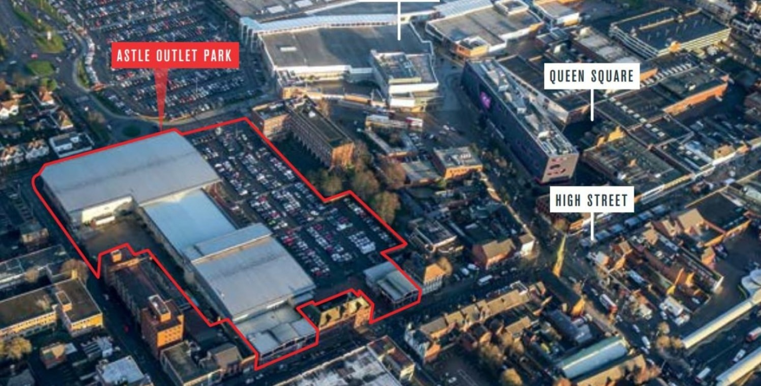 <p>Astle Outlet Park is located adjacent to West Bromwich town centre, just off the High Street, with vehicular access from Cronehills Linkway and a direct pedestrianised link to High Street. The scheme benefits from a 300 space car park for shoppers...
