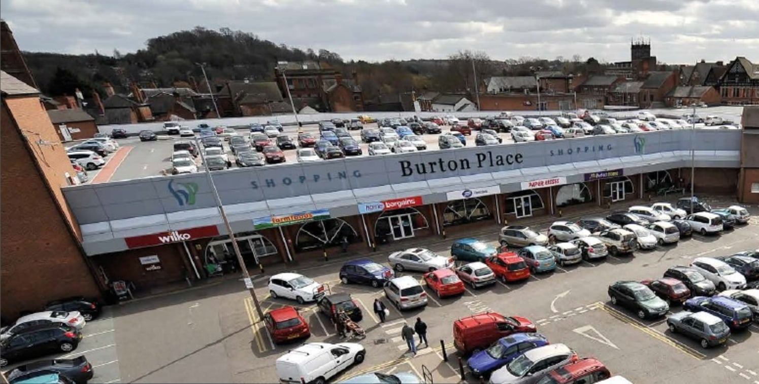 Burton Place Shopping Centre is anchored by Wilkinsons and Home Bargains. It benefits from a popular surface car park adjacent (93 spaces) and a decked car park above which has 230 spaces. Burton upon Trent is situated between Derby and Lichfield and...