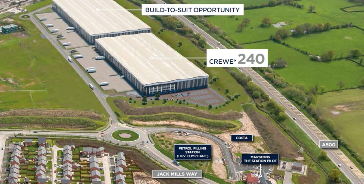 Phase 2 build to suit opportunity comprising 300,000 sq ft in Crewe.   Crewe240 occupies a prominent position on Crewe Commercial Park, a significant logistics development situated within 7 minutes drive of junction 16 of the M6.
