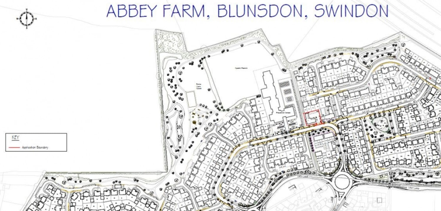 Abbey Farm is a new joint principally residential development by Redrow and Linden Homes which is nearing completion and situated to the north of Swindon. The principal access is either via Tadpole Lane to the West or by Lady Lane from the A419.