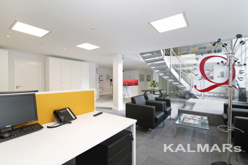 This modern self-contained office has an abundance of natural light provided by floor to ceiling height windows. The office is arranged on ground and mezzanine floors. The ground floor consists of an open-plan area, board room, kitchenette, storage r...