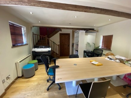 The property comprises a brick built barn conversion and includes ground and first floor office accommodation with garden and parking for approximately six cars outside.  The ground floor includes oak flooring, spot lights, wall lights, feature beams...