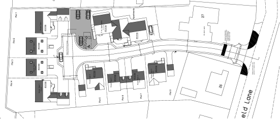 The site is set back from Lunnsfield Lane, and is accessed between numbers 25 and 27, and with the exception of the access it comprises a mainly rectangular plot with is bordered by fields or the gardens of neighbouring properties.