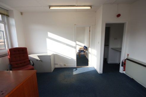 Self-contained office suite with its own entrance and facilities. N.I.A of 22.28 Sq M (240 Sq Ft). Two rooms plus kitchenette and WC facility. 1 car parking space within an asphalt car park. Located within Taunton town centre, near to Sainsburys supe...