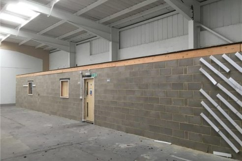 Modern warehouse unit located close to the A14 and benefiting from 8 allocated parking spaces plus visitor spaces. Other benefits include: Gas central heating, internal blockwork offices, roller shutter access 4.5m wide by 3.8m high....