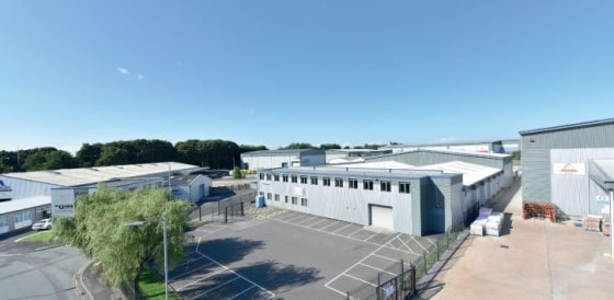 Steel portal frame. Concrete floor. 2x level loading doors. Steel profile clad. Two storey offices and welfare areas. Self-contained secure loading yard and parking. Sodium high bay lighting. All mains services connected. Eaves height from 5-7 metres...