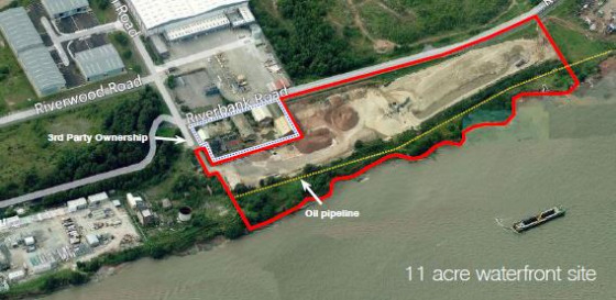Former Sand Deposition Site. Approximately 11 acres. Potential for open storage, aggregates, redevelopment.