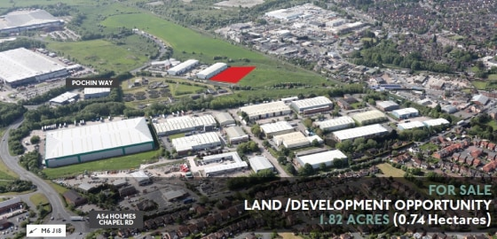 Commercial land available for commercial development for B1, B2, B8 Uses.  1.82 Acres  Long Leasehold  £650,000