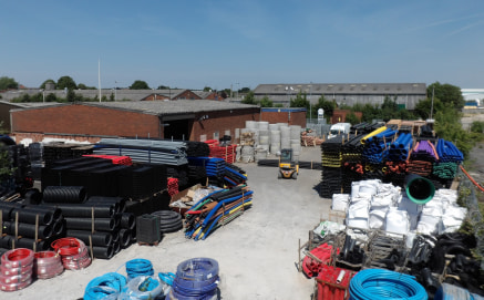 A detached industrial warehouse unit with a substantial secure yard.  5,715 sq ft  £23,500 per annum.