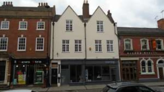 Self-contained upper floor offices. Cellular layout with reception, WCs and kitchenette. Ground floor entrance off Friar Gate....