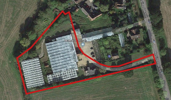 1.9 acre nursery with approx 35,000 sq ft glasshouses, detached building comprising ground floor office and first floor flat, buildings and grounds.   FOR SALE.