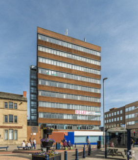 The building is one of Huddersfield's landmark properties within the ring road.  The upper floors of this ten storey office building certainly provide one of the best working environments in Huddersfield, with fantastic panoramic views to all four si...