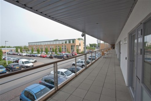 Contemporary serviced office suites situated on a landscaped business...
