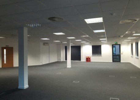 Ground floor air conditioned (VRV) offices comprising open plan accommodation with several meeting rooms/celluar offices and a kitchen/staff...