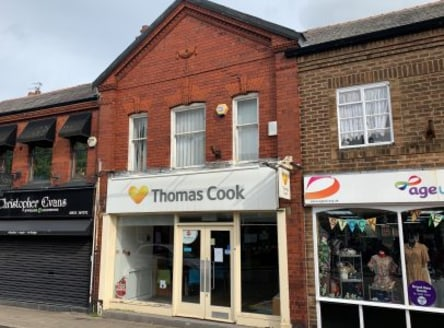 The property comprises a two storey mid terraced retail premises that was most recently a travel agency occupied by Thomas Cook.<br><br>The property is centrally located within the main Village shopping area, with direct frontage onto the A49 London...
