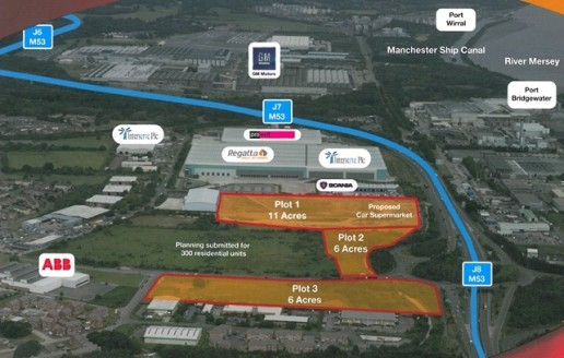 Plot 1  Industrial buildings from 50,000 - 150,000 sq. ft. can be accommodated in addition to a proposed car showroom  11 acre site available in plots from 2 acres upwards  Outline planning permission was previously secured for B1, B2 & B8 uses.   A...
