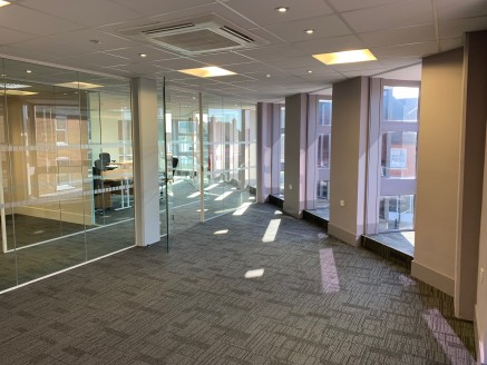 The offices are on the first floor arranged as a general office, a meeting suite, as well as a reception and separate storage area, benefiting from the following:   Air conditioning.   Male and female toilets.   Entryphone.   Full height glazed parti...