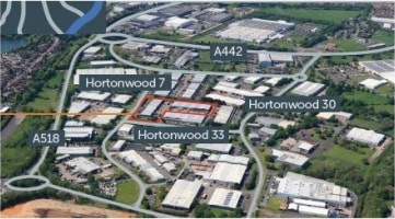 Hortonwood 33 comprises a range of terraced industrial/warehouse units incorporating offices and service yards.<br><br>The warehouses are of steel portal frame construction with brick and blockwork elevations and electric roller shutter entrance door...