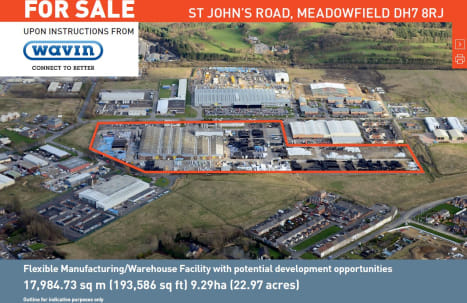 The property sits on a site of approximately 9.29ha (22.97 acres) and comprises a large warehouse/production facility extending to approximately 16,221.02 sq m (174,603 sq ft) with maximum eaves height ranging from 7.4m to 11.6m in the  high bay.