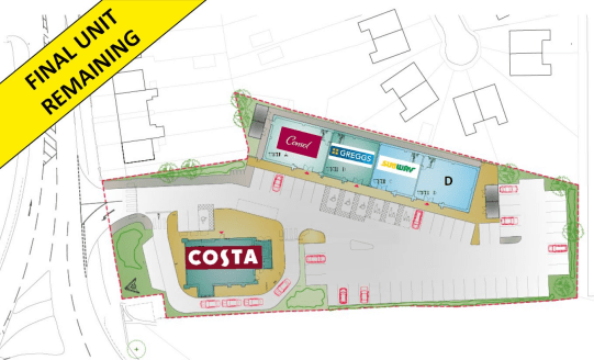 New roadside development anchored by Costa.  The roadside development is to comprise a drive thru (pre-let to Costa) together with four retail units, three of which are under offer to Consol, Greggs and Subway.  The final remaining unit which compris...