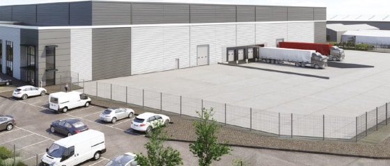 Steel portal frame unit. Profile sheet clad elevations with glazing to offices. Minimum 10m clearance height. 4 dock and 2 level access loading doors. High quality two storey office accommodation 50 Kn/m floor loading capacity. Minimum 40m yard depth...