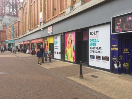Description\n\nIndividual units available from 1400 sq ft or combined in various formats to provide up to 8000 sq ft.\n\nBank Hey street is one of Blackpool's prime retailing Streets and busiest thoroughfares in the Town....