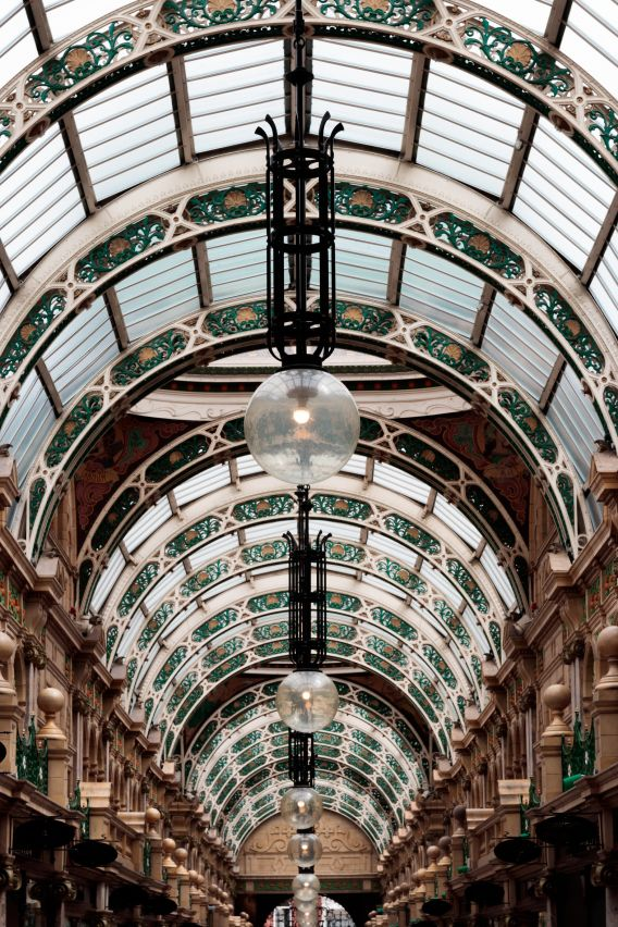 A photo of the ornamental ceiling of the Grand Arcade in Leeds