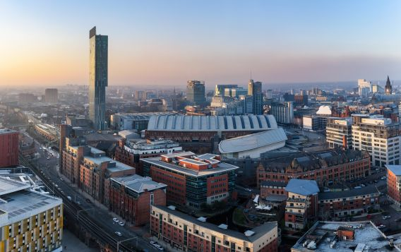Arial photograph of Manchester buildings, focusing on Bridgewater Hall