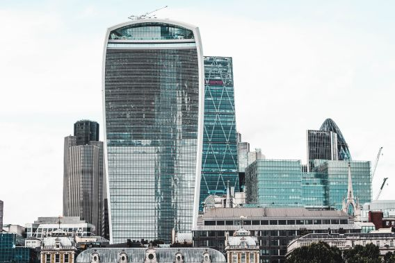 A photo of city of London buildings