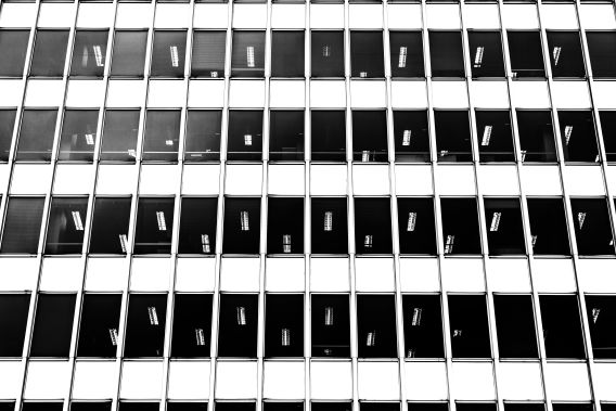 Image of a white empty office block